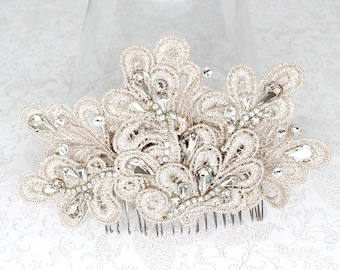 Lace Bridal Comb- Wedding Hair Piece-Bridal Hair Accessories-Blush Bridal Comb-Champagne Hairpiece-Wedding Hair Accessories-Blush Hair Clip