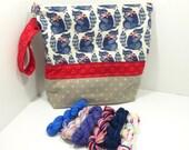 Summer Knit Kit - racoon squishy bag and sock yarn mini skeins