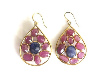 Pink Tourmaline And Sapphire Gold Vermeil Sterling Silver Boho Earring