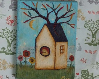 small original painting Birdhouse lisa arkus