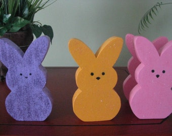 Bunnies, marshmallow, shelf sitter, Easter, spring, spring decor, wood, handpainted, pink, yellow and purple