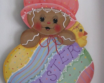 Easter, Gingerbread, baby, egg, chick, Easter egg,  handpainted, wall hanging, wall decor, door decor