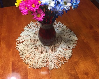 Vintage 19 inch White hand crochet doily for crafts, housewares, kitchen, dining, home decor by MarelenesAttic
