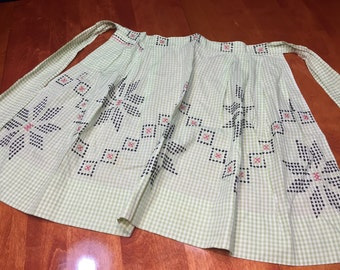 Apron, Vintage 1960's Green Gingham kitchen Apron with black and pink Cross Stitch design by MarlenesAttic