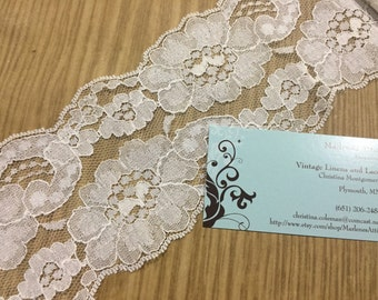 1 yard, 20 inches of 3 1/2 inch White chantilly galloon lace trim for bridal, veils, altered couture, costume by MarlenesAttic - Item 5UU
