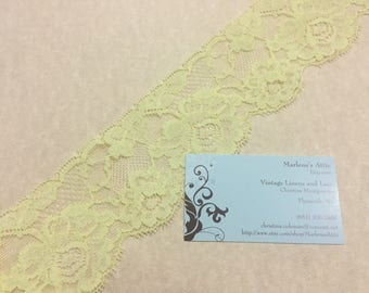 Yellow lace, 1 Yard, 30 inches of 2 1/2 inch Yellow Chantilly lace trim for easter, bridal, baby, lingerie by MarlenesAttic - Item AA99