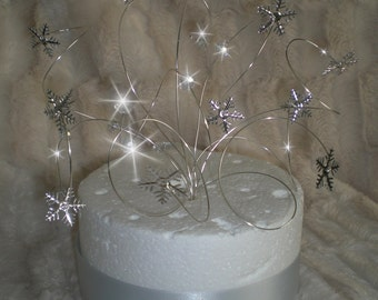 Snowflake swirl Cake  topper  for a Winter wedding