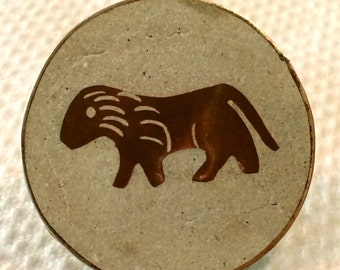 Mexico Brooch Pendant Vintage Signed JSV Sterling Zodiac Pin Copper Inlay Leo