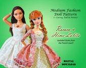 "Easy Summer Dress Clothes Pattern for Medium 11.5"" Dolls: Barbie, Disney Princess, Fashion Royalty, Curvy, Petite, Tall"