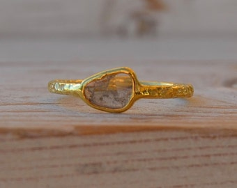 Diamond slice gold plated sterling silver ring