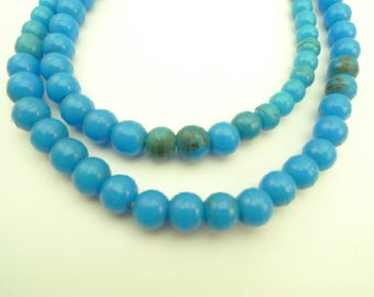 """24"""" strand matched turquoise prosser pressed Czech trade beads Africa AB-0103"""
