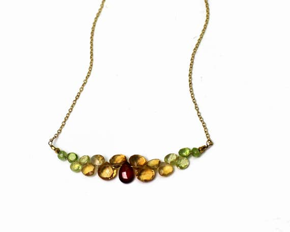 Bridesmaid Gift. Fall Wedding. Bar Necklace. Citrine, Peridot and Garnet Necklace, Multi Gemstone Necklace. N-2352-G