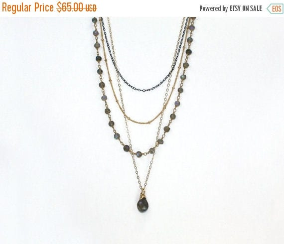 20% off. Labradorite and Silver Necklace. 4 Delicate Sterling Silver Chains and Labradorite with Blue Flame EX.