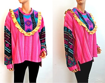Ruffle Tunic Top Pink Multicolor Yellow Patterned Bohemian with Pockets Spring Women's Clothing, Size Large