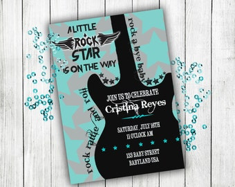 Baby shower invitation, rock n roll baby shower, boy baby shower, baby shower invites, baby shower, baby boy, baby shower invitation boy,