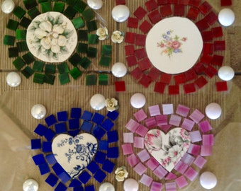 Mosaic Tiles Broken Plates 4 Focal Set Loose Handcut Pretty Heart Floral Focals 4 Ceramic Roses Pique Assiette for Tesserae
