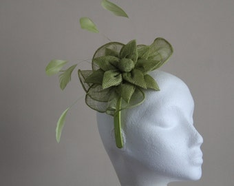 Apple Green Fascinator and Feather Fascinator on a hairband, races, weddings, Ascot, Mother of the Bride, Kentucky Derby