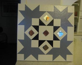 Tan Black & Grey Home Decor, Mirror Decor, American Quilt Decor