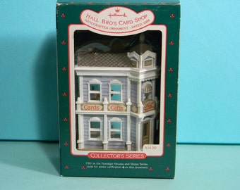 Hallmark Collector's Series, Hall Bros Card Shop, 1988 Christmas Ornament, Dated and In Original Box
