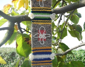 Rustic Hand Woven Wall Hanging Balkan Folk Ethnic Art Handmade Rug Grey Gray Ochre Wool Ethno Art