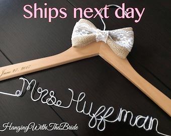Rush listing Ships next business day, Burlap Wedding hanger, bridal hanger, bride gift, bridesmaids gift, custom made hanger