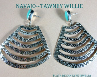 Navajo~TAWNEY WILLIE~Trapezoid Shape~Hand Stamped~Turquoise~925 Earrings