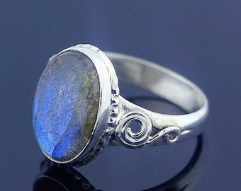 Rainbow Labradorite 925 Sterling Silver Ring Size 8.5 Jewelry - R90