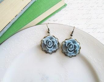 Vintage Inspired Flower Earrings, Dusty Victorian Blue Rose Dangle Filigree Earrings, Nickel Free French Hooks, Antique Bronze