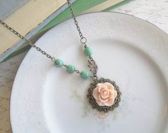 Vintage Inspired Flower Necklace, Dusty Victorian Pink Rose Necklace, Turquoise Accent Beads, Antique Bronze
