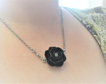 "Ebony: Swarovski Crystal Black Rose Flower Necklace on 19"" Silver Chain. Very High Quality."