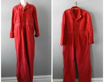 Red Work Coveralls 70s Wide Leg Jumpsuit Vintage Men Women Size 46 Large Hippie Boho Dresses Top 1970s Pant Rompers Overalls Hipster Hippy