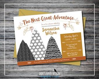 Printable Tribal Baby Shower Mountain Invitation - Adventure Orange, Gold and Black - Boy, Girl, Gender Neutral Baby Shower Invitation