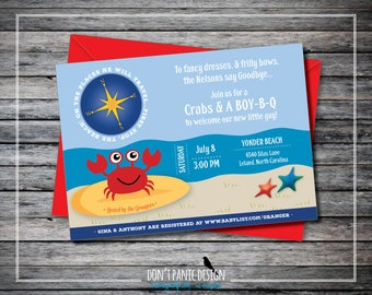 Printable Baby Shower Invitation - Baby Crab Nautical Beach Baby Shower - Gender Neutral Invitation - Navy Blue & Red Shower - Custom Color