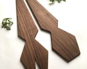 One of a kind faceted recycled walnut wood serving utensils salad servers