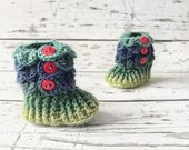 Ready To Ship Sale 0-6 Month Baby Booties, Rainbow Slipper Boots, Crochet Crocodile Rainbow Boots, Ready To Ship