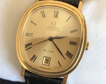Vintage 1974 Omega De Ville Date MD 162.0063 Automatic 23 Jewels Gold Plated Watch