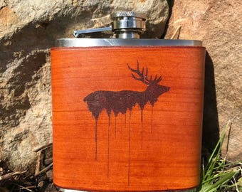 Elk and Treeline Leather flask Beautiful design. For the Hunter