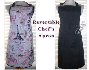 Reversible Chef's Apron, Cooking Apron, Chefs Apron, Kitchen Apron, Paris Theme and Solid Black Featuring Two Deep Pockets