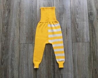 Baby Pants Trousers Leggings Clothing Knit Wool Warm Slim fit Boy Girl Milk white Yellow striped