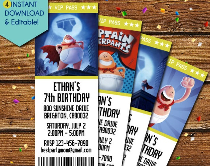 Featured listing image: Captain Underpants Invitations, Captain Underpants Ticket Invitations, Captain Underpants Birthday Invitation, Captain Underpants Party