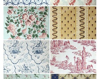 Printable Vintage Wallpaper Digital Collage Sheet - ATC - JPEG - PDF - Instant Download - Downloadable - Commercial use / Cu use ok