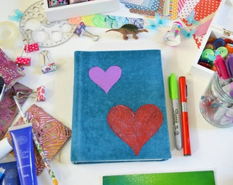Handmade Teal Blue Fabric Art sketchbook Journal with Hearts