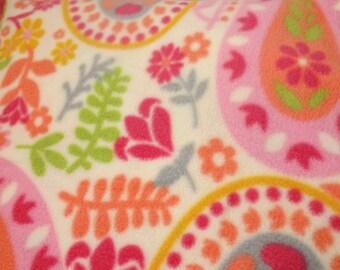 Greyhound Fleece Pajamas - 2 legged PJs for average sized greyhounds - Paisley floral - Pink & orange on cream background