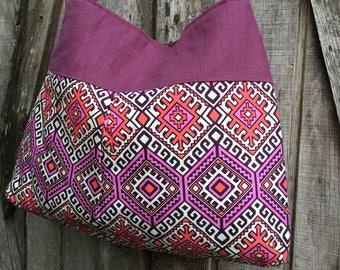 Handbag Purse Tote Bag Shoulder Tote in Plum and Pink