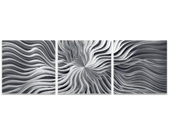 Wavy Starburst Art 'Flexure Triptych' by Nicholas Yust - Metal Sunburst Decor Minimalist Wall Artwork on Metal or Acrylic