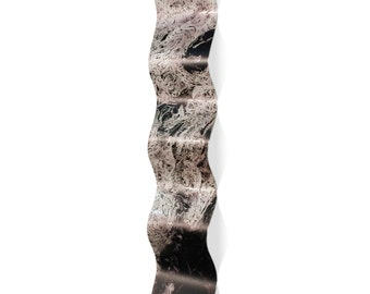Wavy Metal Art 'Storm Black Wave' by Emley - Expressionist Wall Sculpture Eclectic Modern Accent on Metal