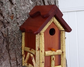 Tudor birdhouse, Nesting Box, birch trimmed bird house, birdhouse with cleanout, tree mount, post mount, thatch style roof ,handmade in USA