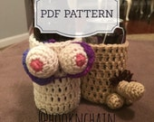 PDF pattern for Boob and penis bottle can holder sleeve crochet pattern set