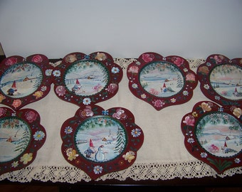 Christmas Hand Painted Wooden Plate by me and signed