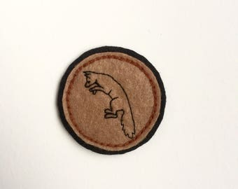 Hand Embroidered Patch - Pouncing Fox